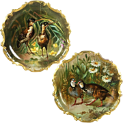 "15.55"" large Pair of Limoges France Tray/ Wall Plaque with hand painted birds, artist ..."