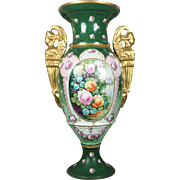 "18"" tall Limoges France hand-painted vase with golden figural of Sphinx handle. 1930s - 1950"