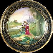 "Rare 20.3"" (51.5cm) huge Limoges France hand-painted tray / porcelain plaque, raised gold .."