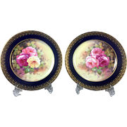 """Pair of Limoges France hand-painted cobalt blue chargers/ plates, artist signed """"Norys"""""""