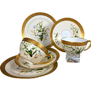 pair of Limoges France hand-painted cups & saucers & desert plates, 6 pieces, raised golden ..