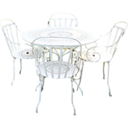 Pre1960s Iron Metal French Fermob Cafe Bistro Table Patio Chairs Set