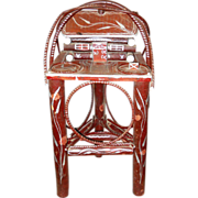 Early 1900's Adirondack Cabin Twig Table Cigar Smoking Stand Folk Art