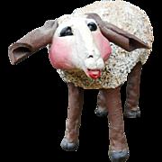 Vintage Signed PKF Filotei Folk Art Large Sheep Ewe Lamb Studio Clay Nativity Manger Sculpture