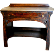 Antique Craftsman Mission 1890's Arts and Crafts Bungalow Quartersawn Oak Sideboard Desk Spade