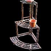 Iron Wire Corner Garden 3 Tier Modernist Porch Fern Stand Vintage 1950s