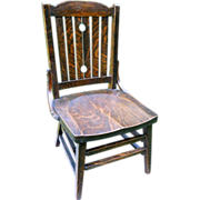 Antique Arts & Crafts Quartersawn Fumed Oak Mission Youth Childrens Chair Signed Heywood ...