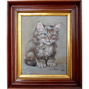 Antique 1906 Kitten Cat Pose Oil on Board Portrait Painting