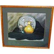 Mid Century Modern Art Deco Still Life Charcoal Pastel Painting Vintage 1940s Hollywood Regenc