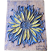 Victoria Littlejohn Garden Sunflower Vintage Porch Mid Century Stoneware Studio Pottery Tile .
