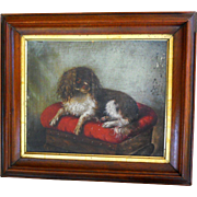 19th Century Susan Catherine Moore Waters Cavalier King Charles Spaniel Dog Portrait Oil ...