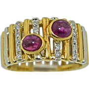 18K White & Yellow Gold Ruby & Diamond Ring