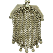 SOLD Victorian Sterling Silver Purse Pendant Chatelaine Chain Link Mesh