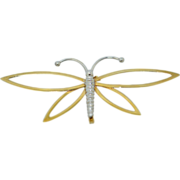 10K White and Yellow Gold Butterfly Brooch