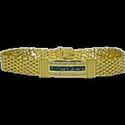 14K Yellow Gold Sapphire and Diamond Mesh Bracelet