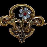 Art Nouveau 18K Austrian Diamond and Ruby Pin ~ Pendant