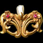 Art Nouveau 10K Ruby & Fresh Water Pearl Floral Pin Brooch