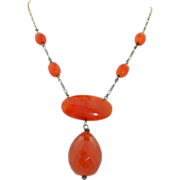 Sterling Silver Arts & Crafts Carnelian Facet Cut Lariat Necklace