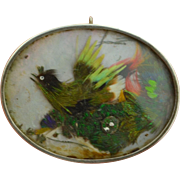 Victorian Sterling Silver Feather Bird Shadow Box Brooch