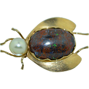14K Opal & Pearl Insect Bug Brooch ~Pin