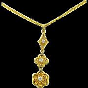 Art Deco 10K Yellow Gold & Diamond Drop Necklace