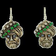 Sterling Silver Joseff of HollyWood Turban Man Sheik Earrings