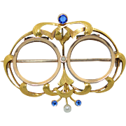 French Art Nouveau 14K Sapphire and Pearl Double Glass Locket Brooch Opens from back