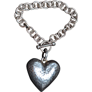 SALE Sterling Silver Huge Puffy Love Heart Toggle Bracelet