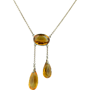 Edwardian Sterling Silver & Citrine Lariat Necklace