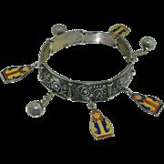 Russian Sterling Silver & Enamel Dangle Bracelet