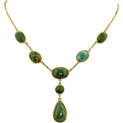 SALE Victorian 14K Yellow Gold & Turquoise Lariat Necklace