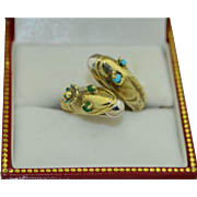14K Double Fish Finely Detailed Ring With Persian Turquoise, Emeralds and Enamel