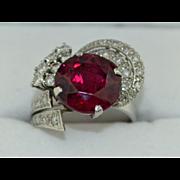 5 Carat Natural Rubellite Tourmaline & Diamond Ring In Platinum