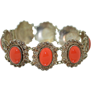 Sterling Silver Filigree Cannetille with Coral Glass