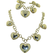 SALE Sterling Silver Puffy Love Heart Necklace and Bracelet Italian