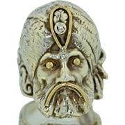 14K & Sterling Silver Sultan Sheik Genie Turban Man Ring