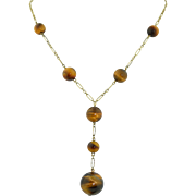 Art Deco 9K Yellow Gold and Tigers Eye Orb Ball Lariat Necklace
