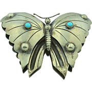 Large Early Hand Wrought Mexican Butterfly Sterling Silver & Turquoise