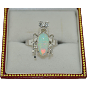 Platinum & 14K White Gold Natural Opal and Diamond Insect Ring SZ 6.5 US