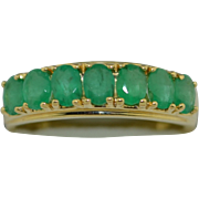Vintage 14K Emerald Stacking Ring 7 Stone