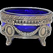 Victorian Master Salt Sterling Silver Cobalt Hand Blown Glass