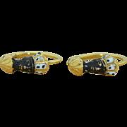 1800's 14K Blackamoor Nubian Enamel Earrings