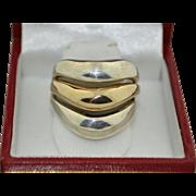 Modernist 14K & Sterling Silver Wave Ring