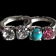 Iosselliani Sterling Silver & Rhinestone Rings (Set)