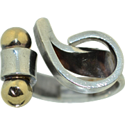 Modernist 14K & Sterling Silver Abstract Ring
