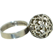 Finnish Signed Turkukorut Aulin Modernist Orb Ball Ring 830 Silver