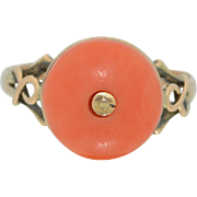 Victorian Coral & 10K Gold Ring