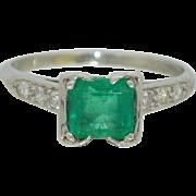 Platinum Columbian Emerald & Diamond Ring
