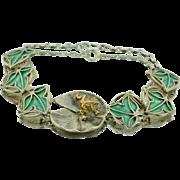 14K Sterling Silver Enamel Frog Lilly Pad Bracelet