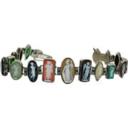 Late Victorian Multi Stone Cameo Bracelet in 935 Sterling Silver with Marcasites